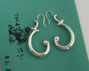 Recycled antique Sterling Silver Earrings - silver jewelry - dangle earrings - recycled silver