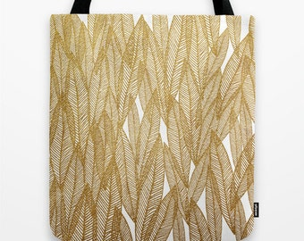 Golden Leaves Tote Bag- fabric tote- leaves pattern- gold- white- modern pattern design- gift for her