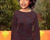 vintage 80s sweater STRIPE boatneck liz claiborne black jumper women's Medium Small soft rainbow