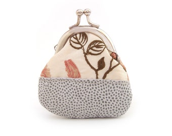 Flower coin purse, leather and silk, mini pouch, embroidered floral, LEAF