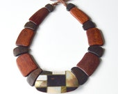 Vintage Wooden Beads Collar Necklace - Flat Dark Tones Wood with Light and Dark Mother of Pearl MOP with Black Onyx Centre Detail