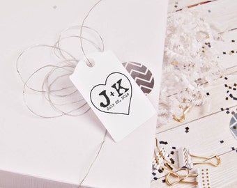Large custom rubber stamp with a heart shape and initials etched inside --5603