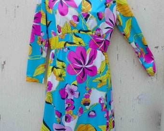 Vintage Sixties Eduardo Multicolored Floral Fantasy Long Sleeved Day  Dress / Pucci-esque Look and Style / Size Small