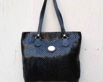 Vintage Seventies Black Metal Mesh & Leather Tote Style Bag / Purse by Whiting and Davis / Metal Mesh Boho Style