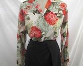 50s Dahlias print Blouse Vintage cotton sateen Print Blouse 50s floral print blouse garden cotton  shirt Coral Moss Peach Dahlias M L
