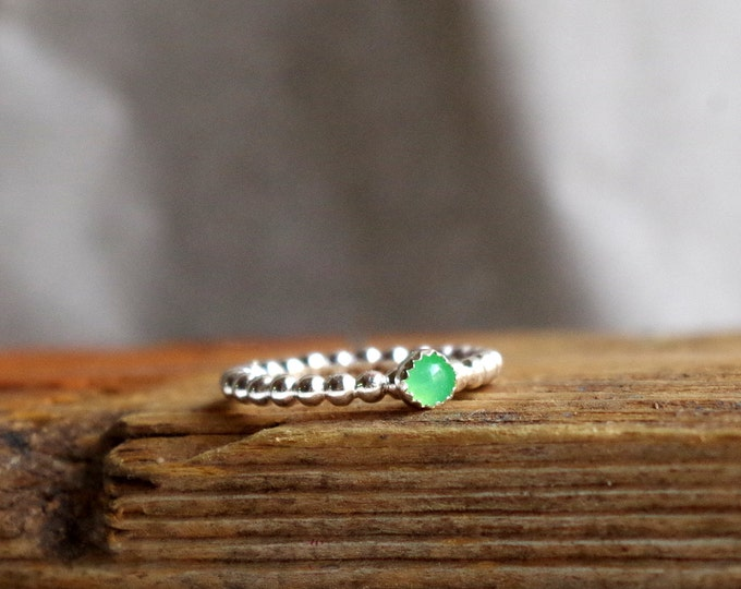 Chrysoprase Ring Gemstone Ring May Birthstone Green Gemstone Ring Sterling Silver