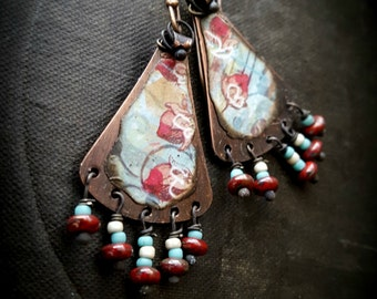 Flower Earrings, Copper Slabs, Glass Fringe, Rustic, Organic, Cottag Chic, Autumn, Fall, Beaded Earrings
