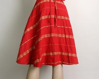 Vintage Wrap Skirt - 1970s Guatemalan Woven Ethnic Cherry Red Cotton Skirt