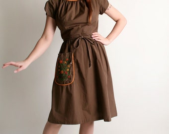 Vintage 1950s Swirl Wrap Dress - Chocolate Brown with Floral Embroidery - Medium
