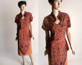 Vintage 1940s Sequined Dress - Rayon Crepe Beaded Flower Swirl Dramatic Dress - Medium Large