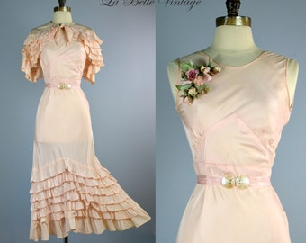 NRA 1930s Peach Gown Vintage Truffle Party Dress Ruffled Cape Set XS