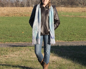 Frosted ... hand painted silk velvet scarf with silk fringe