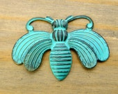 Large Patina Bee Charm - 1 pc - Light Teal Patina on Brass - Patina Queen