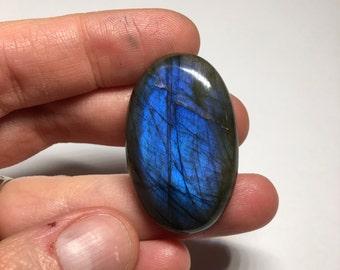 Blue labradorite cabochon gemstone #631 oval flashy blue