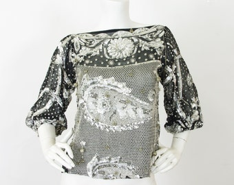 MOVING SALE Swee Lo 1970's - 1980's Vintage Glam Heavily Embellished Silk Chiffon Blouse Sz S