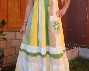 Maxi DRESS Green Yellow Hippie Patchwork Spring Summer VINTAGE Eyelet Lace Applique Boho OOAK Handmade Hippy Full Length Festival Tour Phish