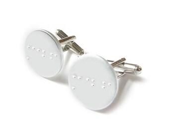 Braille Cufflinks, Personalized Hand Stamped Initials Cufflinks, Wedding Men Dad Gift