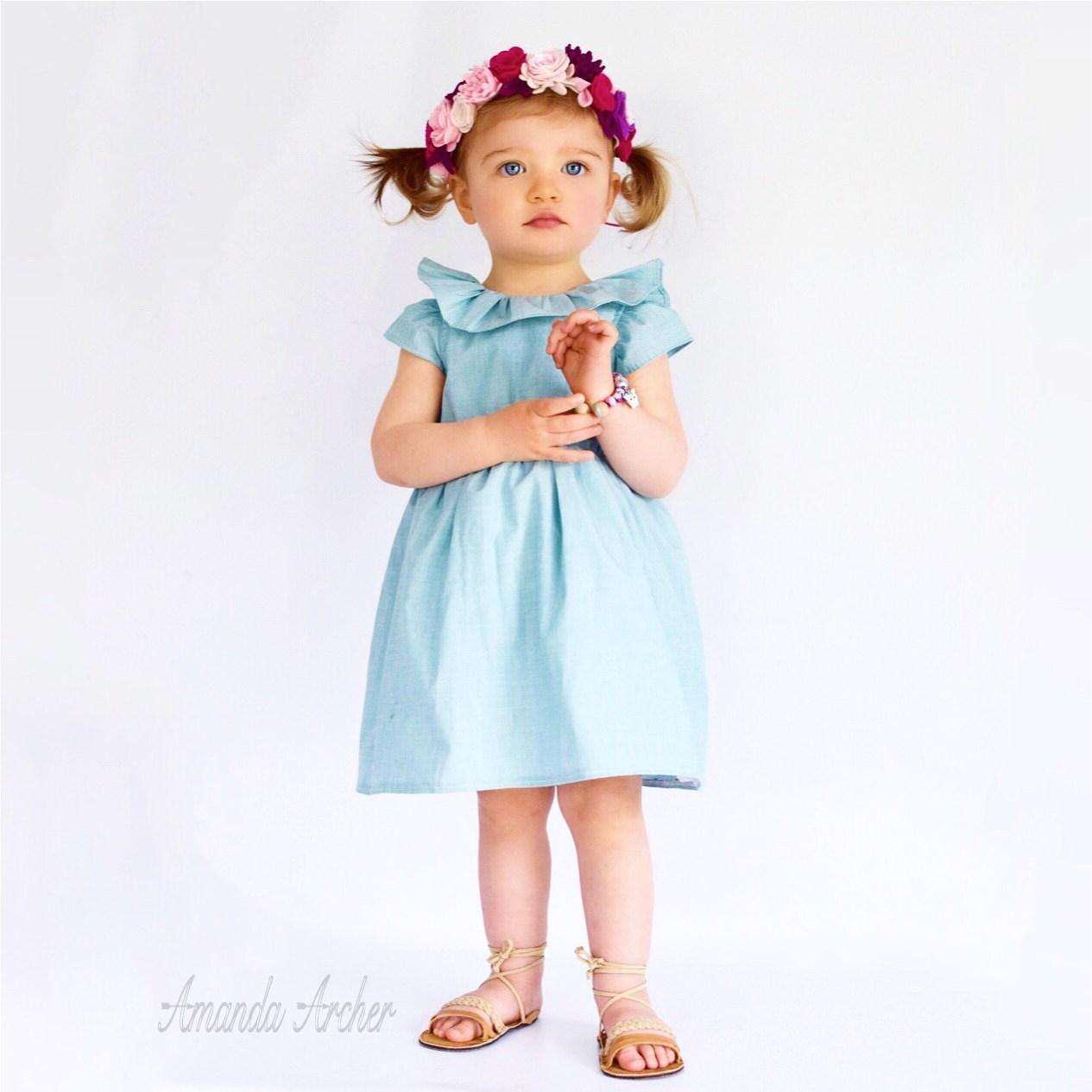 Blue Teal Dress for Toddler and Girl Flower Girl Easter