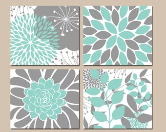 aqua gray bedroom pictures canvas or prints floral wall art flower aqua bathroom