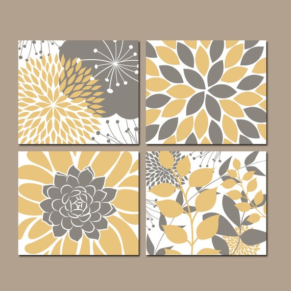 Flower Wall Art Canvas Or Print Kitchen Wall Art Bedroom: Floral Wall Art YELLOW Bedroom Pictures CANVAS Or Prints