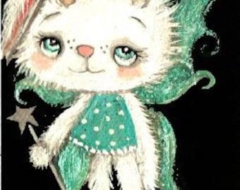 "Bunny Fairy Jackalope Original Painting Canvas on Wood Art Flower 2.5"" x 6"""