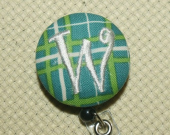 Many fabrics to design YOUR Badge Reel. Monogrammed single letter #94