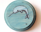 Narwhal Painting - Original Wall Art Acrylic Miniature Painting on Wood by Karen Watkins - Narwhal Art - Whale Painting - Animal Art