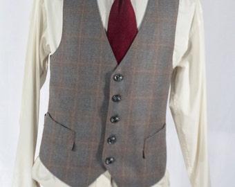 Men's Suit Vest / Large / Vintage Gray Waistcoat / Size 42 #2068
