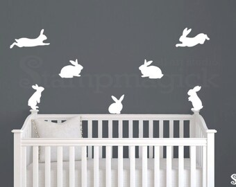 Bunnies  Wall Decal Stickers for Baby Nursery - Rabbits Bunny Wall Art Home Decor Vinyl - K388