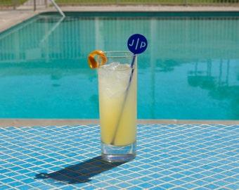 Personalized Monogram Drink Stirrers - Set of 6 Customizable Laser Cut Acrylic Stir Sticks