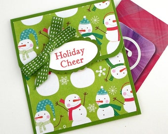 Holiday Gift Card Holder - Holiday Cheer Card - Christmas Gift Card Holders, Green Snowman Gift Card Envelope
