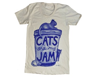 SALE Womens Cat Shirt: Cats are my Jam, graphic tee gift for women back to school shirt cat lover gift, crazy cat lady cat tshirt cat person