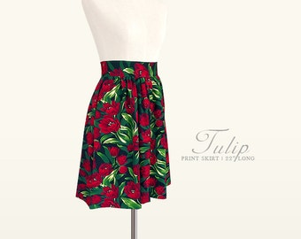 Tulip print fully lined skirt with pockets - custom size, length