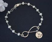 Sterling Silver Infinity Bracelet Pearl , Mom Jewelry, Sterling Silver, Mother Bracelet, Grandma, Infinite Love, Mum