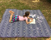 Picnic blanket Aztec Throw Blanket, Navajo Picnic Blanket, Modern Navy White, Southwestern Throw rug Couch Wrap Tribal Beach blanket