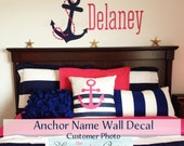 Nautical Decor Wall Decal Gift Idea Anchor Name • Anchor Wall Decal • Monogram Wall Decal • Nursery bedroom boy girl • Coastal Beachy Decor