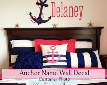 Nautical Decor Wall Decal Gift Idea Anchor Name • Anchor Wall Decal • Monogram Wall Decal • Nursery bedroom boy girl • Coastal Beachy Decor