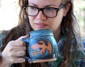 Slate Blue Mug with Rust Dragon - Made to Order