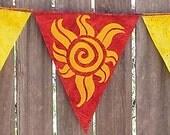 Pagan Hippie Summer Solstice Litha Element of Fire Flag Garland Tribal