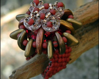 FINAL CLEARANCE - Ring - Size 4 - Right angle weave and bead peyote stitch - Beaded by Hannah Rosner