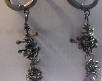 Amethyst and Sterling Silver Leverback earrings