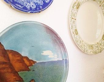 Ceramic Plate Coastal Landscape Canape Plate Oregon Coast Ocean Scene Decorative Plate Aqua Blue Decor Beach Home Decor Coastal Ocean Decor