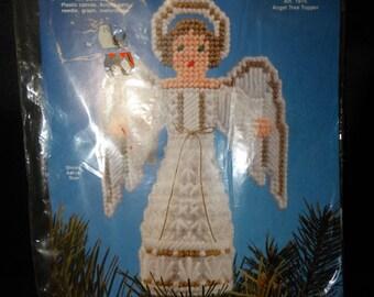 1975 Angel Tree Topper Plastic Canvas Kit, Yarn Tree Topper, Needle Magic Inc. NMI, Angelic, Cherub, Christmas Angel Tree Topper Kit