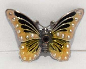 Vintage Butterfly Brooch, Black & Yellow Butterfly Pin, Metal