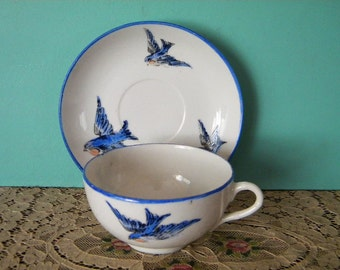 Vintage Cup and Saucer with Blue Birds Tea Cup Japan
