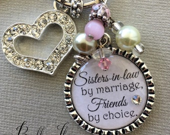 Sister in Law gift, SISTER gift, PERSONALIZED wedding, birthday gift,  Gifts for hear, Sisters by marriage, Friends by choice, blush pink