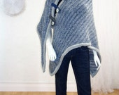 Upcycled Shawl/Wrap/Poncho/Bohemian/ Denim Blue Mohair Wrap/One Size/brenda abdullah