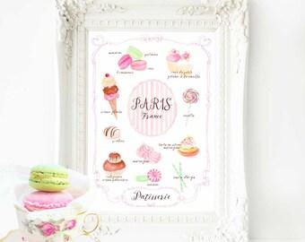 Paris kitchen print, bakery print, cake print, nursery print, French pastry, watercolour cake illustration, A4 giclee