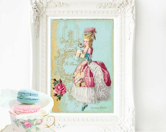 Marie Antoinette French art print, in blue pink and gold, A4 giclee