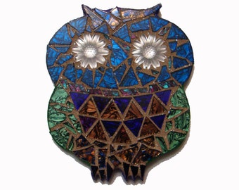 Mosaic Owl Wall Hanging Stained Glass Green Blue Purple Bronze Dil Series